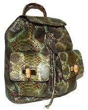 NEW RENERO ITALIA VERO PITONE GENUINE PYTHON SNAKESKIN DRAWSTRING BACKPACK GREEN