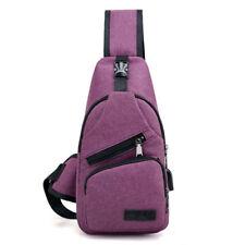 Men's Shoulder Bag Sling Chest Pack Canvas USB Charging Sports Crossbody Handbag