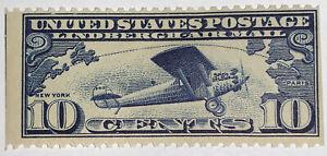 Travelstamps: US Scott  #C10 Lindbergh 10¢ Dark Blue From Booklet Pane C10a MOGH
