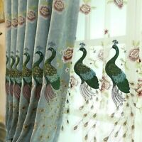 Peacock Embroidery fabric Curtains Pelmets Voile Tulle Window Screens  Sheer