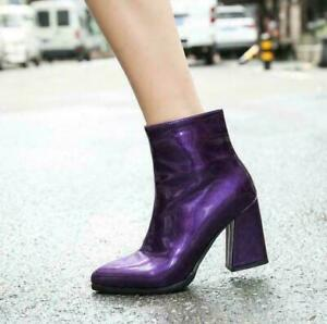 Womens Patent Leather Pointy Toe velvet lined Ankle Boots block heel Shoes Pumps
