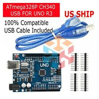 Arduino Uno R3 CH340G Microcontroller Board Kit ATMEGA328P SBC USA SHIP TODAY!