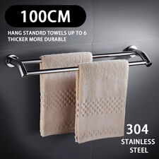 Stainless Steel 1000MM Towel Rail Double Rack Bathroom 2 Bar Hanger Wall Mount