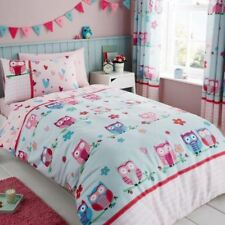 OWLS HEARTS SINGLE DUVET COVER & PILLOWCASE SET BEDDING GIRLS BLUE PINK
