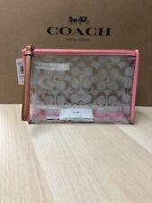 Coach Signature Wristlet Clutch Pouch Clear Pink Lemonade 99430