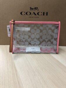 NWT COACH Signature Wristlet Clutch Pouch Clear Pink Lemonade 99430