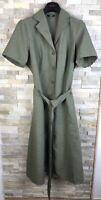 M&S Ladies Size 16 UK Khaki Mix Belted Short Sleeved Shirt Dress