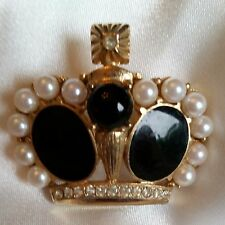Vintage Brass Crown Brooch/Pin w/Black Enamel, Pearls & Rhinestones