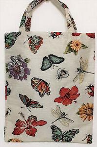 Blumen Einkaufsbeutel Schmetterling Libelle Käfer Gobelin Shopper Einkaufstasche