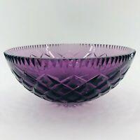 "Vintage Lavender Purple Deep Cut Crystal Glass Bowl Diamond Pattern Art 9"""