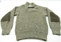 LL Bean Mens Sweater Large VTG Wool Nylon Shawl Collar Fisherman USA Elbow Patch