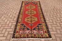 Vintage Pure Wool Tribal Hand Knotted Turkish Hallway Carpet Oushak Runner Rug