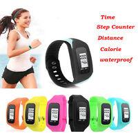 NEW LCD Pedometer Digital Wrist Watch Calorie Counter Run Step Distance Rubber