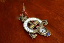 Antique Chinese Brass String Gnomon Sundial Compass 19C