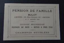 Carte de visite PENSION DE FAMILLE BULOT AMIENS old visit card
