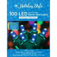 Holiday Style LED Mini Dome Blue Lights Green Wire 100 Lights/