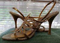 Max Studio 8M Bronze Brown Cream Flower Fine Leather High Heel Sandals