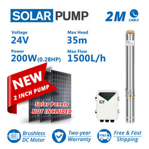 """2"""" DC Solar Bore Pump Submersible Well 24V 200W 35m head Clean water Off Grid"""