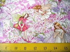 """M. Miller Fabric Cicely Mary Barker Pink Petal Fairies Butterflies All Over 18"""""""