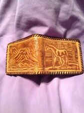 Vintage Hand Tooled Leather Horse Wallet Brown Made In Mexico