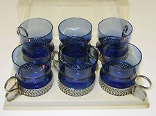 Iittala Timo Sarpaneva Vintage Tsaikka 1957 Blue Glasses (6) Metal Clips Finland