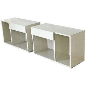 Contemporary Modern Pair of White Lacquer Nightstands End Tables w Drawers 1990s