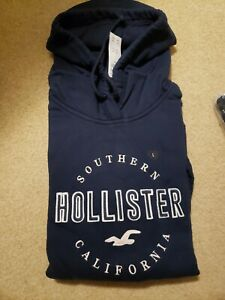 NWT Hollister Embroidered Logo Hoodie Navy with Pink Size Large