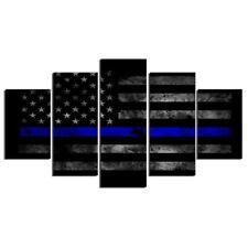 American Flag Police Thin Blue Line Canvas Print Home Decor Wall