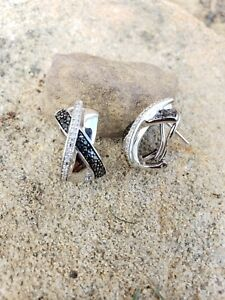 Black And White Diamond Ear Rings , Silver, French clip