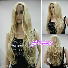 Ladies Long Wavy Curly Blonde Mixed Party Hair Wigs Wig