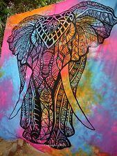 Labhanshi Mandala Tapestry Indian Cotton Wall Art decor Elephant Tie Dye Throw