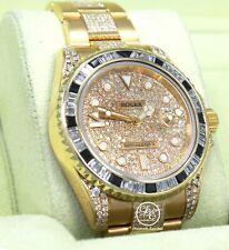 Rolex GMT Master II 116718 18k Yellow Gold Diamonds Dial Bezel Bracelet B/PAPERS