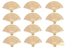 12 Pack Chinese Sandalwood Style Wooden Hand Fans Bridal Favor Wedding Decor New