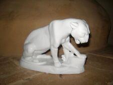 Porzellanfigur Panther Puma weiß 25 cm sehr ausdrucksstark Porzellan