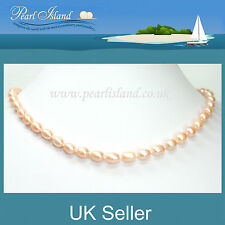 Peach Freshwater Pearl Necklace with Magnetic Clasp 17.5 inch / 45cm