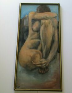 NUDE PAINTING WOMAN  FEMALE FORM MODERNIST MID CENTURY LARGE EXPRESSIONISM 1960