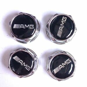 NEW 4X Chrome A.M.G License Plate Frame Security Screw Bolt Caps Cover Nuts
