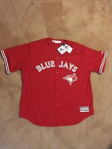 """Men's 2XL Majestic Coolbase Toronto Blue Jays Red """"Canada Day"""" Jersey. NWT"""