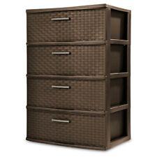 4 Drawer Wide Weave Tower Durable Plastic Home Storage Organizer Bin Box,Espreso