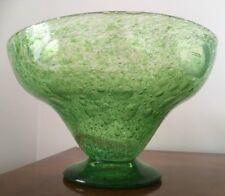 Unusual Art Deco Large Green Bubble Glass Bowl Polished Pontil Webb? Richardson?