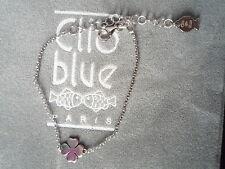 """BEAU BRACELET """"CLIO BLUE""""CHAINE/ARGENT 925/TREFLE ARGEN//100% NEUF/POCHON GRIFFE"""