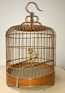 """Antique/ Vintage Chinese Bamboo Bird Cage 16"""" x 9"""""""
