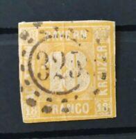 """Bayern 18 Kreuzer gelb (MI. Nr. 7) mit offenem Mühlradstempel """"325"""" München"""