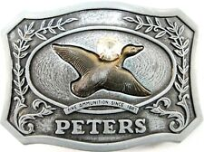 Peters Remington Arms Men Belt Buckle 1979 Made In USA Fits 1.75 Inch Belt