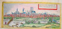 München Isar  Bayern  altkolorierter Braun und  Hogenberg Kupferstich 1580