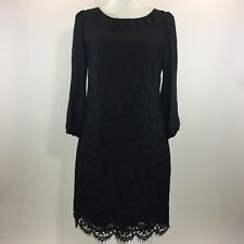 J Crew Collection Womens Dress Black Shirred Lace Silk Sz 4 Cocktail 3/4 Sleeve