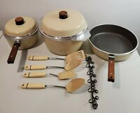 Vintage Kitchen Fair KF Lot of Pots W/ Lid Almond USA KF Bundle w/ Utensils Rack