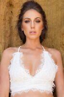 Scarlett Muse Womens Ladies White Lace Bustier Bralette Crop Tank Vest Top Sexy