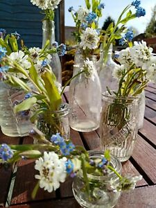 Vintage Wedding Glass Vases Collection x 9