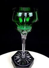 "AJKA CRYSTAL HUNGARY #AJC14 CASTILLE VERTICAL CUT EMERALD GREEN 8 1/4"" WINE HOCK"